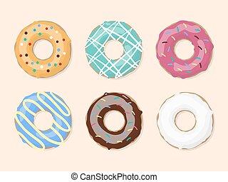 Glazed colored donuts set. Vector illustration