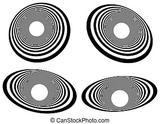 Elliptical elements with concentric, radial circles....