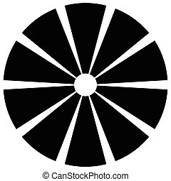 Geometric circle element made of radiating rectangles....