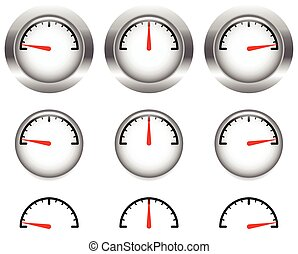 Generic gauges, dials with red clock hand, pointer