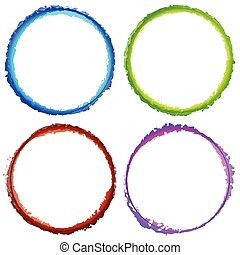 4 grungy circles with painted effect. Textured, distressed...