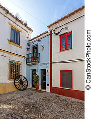 Ancient traditional streets of the town Sines. - Ancient...
