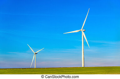 Wind turbines in a field - France, Marne Department