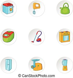 Devices for home icons set, cartoon style - Devices for home...