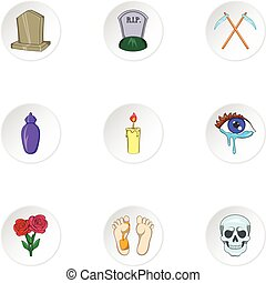 Death of person icons set, cartoon style - Death of person...
