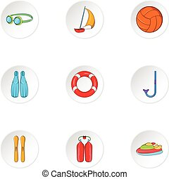Water exercise icons set, cartoon style - Water exercise...