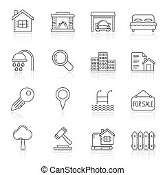Line Realistic Real Estate icons