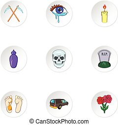 Death icons set, cartoon style - Death icons set. Cartoon...