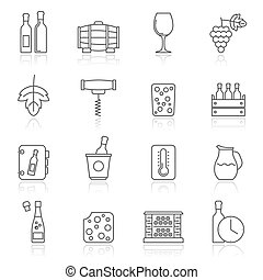 Line Wine industry objects icons -vector icon set