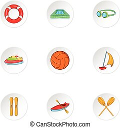 Water sport icons set, cartoon style - Water sport icons...