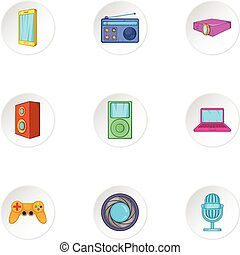 Electronic equipment icons set, cartoon style - Electronic...
