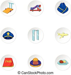 Airport check-in icons set, cartoon style