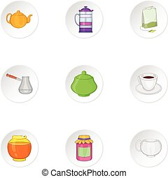Types of drink icons set, cartoon style - Types of drink...