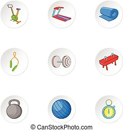Exercise room icons set, cartoon style - Exercise room icons...