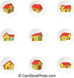 Structure icons set, cartoon style - Structure icons set....