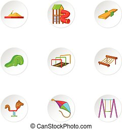 Children rides icons set, cartoon style - Children rides...