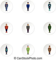 Types of military icons set, cartoon style - Types of...