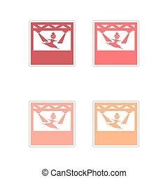 Set of paper stickers on white background ballerina