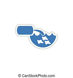 paper sticker on white background water pollution - paper...
