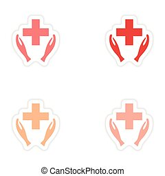 assembly realistic sticker design on paper logo medicine