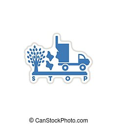 paper sticker on white background garbage truck tree