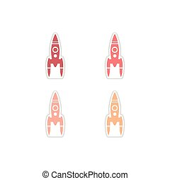 Set of paper stickers on white background rocket