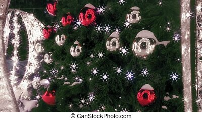 Detail of elegant Christmas tree with glass balls and...