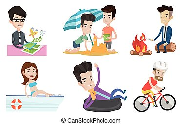 Vector set of traveling people. - Young caucasian woman...