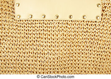 Golden texture - Knitted textile texture with lether element...