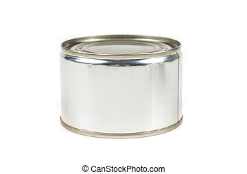 One small tin can isolated on white background