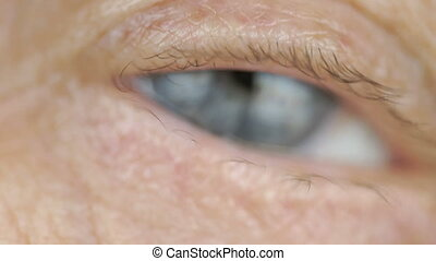 Blue eye of middle-aged woman. Close up