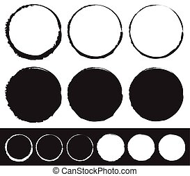 Grungy circle element set - Circles with smudged, smeared...
