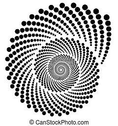 Circle halftone element, circular half-tone pattern. Spiral,...