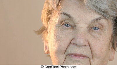 Portrait of a elderly woman aged 80s. Close up