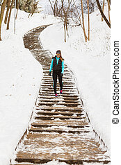 Young girl on path. Staying in touch with nature during...