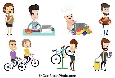 Vector set of people eating and traveling. - Caucasian man...