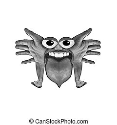Body Part Monster Illustration - Digital art photo collage...