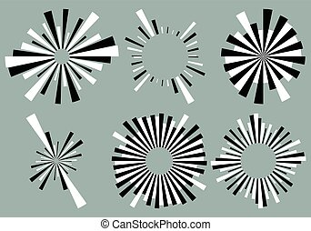 Set 6 radial lines, rays, beams elements. Various starburst,...