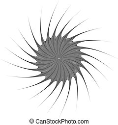 Abstract geometric element. Rotating shape of radial lines...