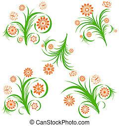 set of a  floral ornaments