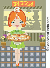 Girl with pizza in cafe.
