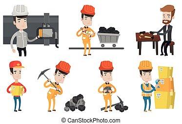 Vector set of industrial workers. - Miner in hard hat...