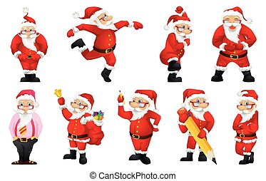 Vector set for christmas with Santa Claus. - Set of cute...
