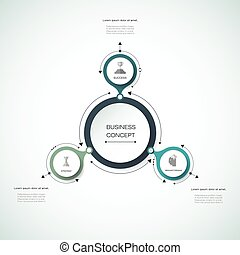 Vector infographics, 3D paper cycle diagram template