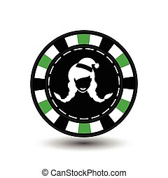 Poker chip Christmas. Green. Female Santa Claus white in the middle. Illustration vector. Use for the site, printing, paper, cloth, decoration, design, etc. EPS 10