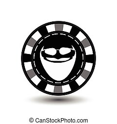 Poker chip Christmas. Gray. With Santa Claus white glasses in between. Illustration vector. Use for the site, printing, paper, cloth, decoration, design, etc. EPS 10