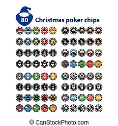 Casino Chips Set of 80 Christmas eighty pieces. god.Illyustratsiya new vector. Use for the site, printing, paper, cloth, decoration, design, etc. 10. EPS on a white background to separate easily