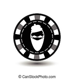 Poker chip Christmas. Grey. With white Santa Claus cap in the middle. Illustration vector. Use for the site, printing, paper, cloth, decoration, design, etc. EPS 10