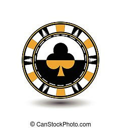 Poker chip Christmas. Yellow. With the club suit in the middle and on the sides of trees  Illustration vector. Use for the site, printing, paper, cloth, decoration, design, etc. EPS 10