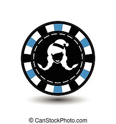 Poker chip Christmas. Blue. Female Santa Claus white in the middle. Illustration vector. Use for the site, printing, paper, cloth, decoration, design, etc. EPS 10